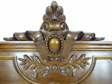 """33""""French Antique Pediment Hand Carved Walnut Wood Crest Fronton Louis XVI Style"""