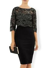 New MONSOON 12or22 Black Gold Lace MADINEH 3-in1 Shift Dress & Bolero Top Jacket