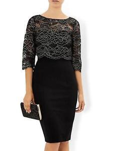 New MONSOON 12or22 Black Gold Lace MADINEH 3-in1 Shift Dress & Bolero Top Jacket