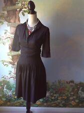 BCBG Maxazria Black Short Sleeve Pleated Women Dress SZ 4