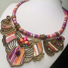 Boho Statement Gold Bib Necklace Crystal Orange Pink Red Purple Birthday Gift