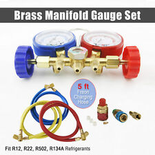 R134A R12 R22 R502 Diagnostic Brass Manifold Gauge ACME Adapter & 5FT Hoses New~