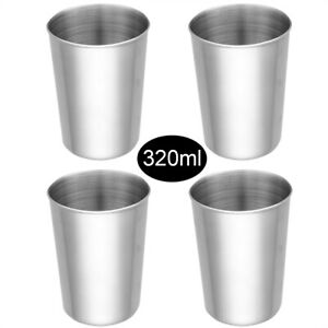 4 Stainless Steel Pint Glass Drinking Mugs Liquor Juice Cups for Children Adults