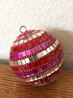 Pink Red Silver Glass Ornament  Bulb Ornament Christmas