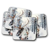 4 Set - Lapland Reindeer Coaster - Christmas Festive Snow Finland Gift #16651
