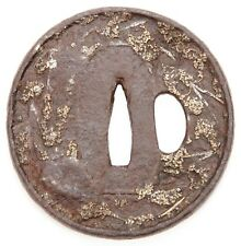 Antique Japanese Tsuba Iron Tembo Gomoko Brass Inlay Katana Koshirae Sword Guard