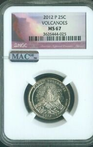 2012-P Volcanoes National Uncirculated Parks Quarter NGC MAC MS67 Quality✔️