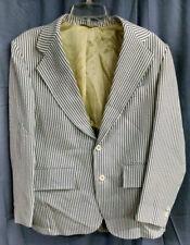 Palm Beach Men's JACKET/BLAZER, 2-Button, White/Blue Striped, Meas. in Descr.