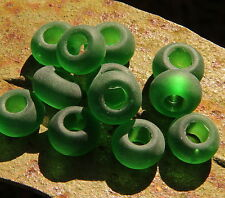 Sea Glass, Large Hole Rondelle Beads, 14x10mm, SHAMROCK GREEN, 4 Pieces, 0051