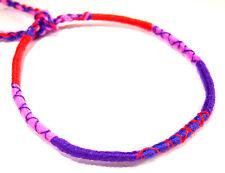 Bracelet Brésilien Amitié Friendship Porte Bonheur Coton Violet rose rouge