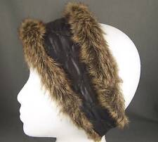 Grey Ombre faux fur lined quilted ear warmer muffs head wrap hat cover ski