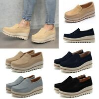 US Women Ladies Casual Creepers Platform Slip On Shake Shoes Wedge Loafers Suede