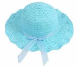Cute Sun Straw Hat For Child Girls Ribbon Summer Bonnet Beach Wide Brim Cap
