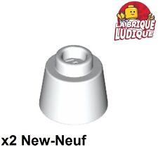 Lego - 2x Cone inverted 1 1/6x1 1/6x2/3 (Fez) blanc/white 85975 NEUF