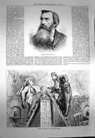 Original Old Antique Print 1873 Charles Lucy Nemesis Strand Theatre Scene 19th