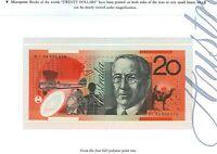 Australia 1st 1994 $20 BI94 000876 +Ovpt FOLDER Fraser Evans Polymer Issue r416a
