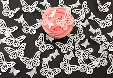 48 Edible White Butterflies Pre Cut Wafer Cupcake Toppers