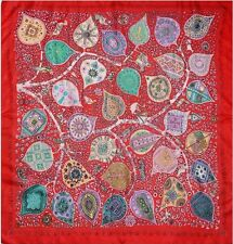 """100% Silk Scarf Tree Branches Patchwork Leaves 33"""" X 33"""" Large Square Bandanna"""