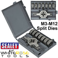 Sealey Split Die Set 9pc Metric M3-M12 Steel Die Holder Thread Repair Set