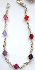 Handmade Swarovski Crystal Yang Bracelet Scarlet,Ruby Red,Fuchsia,Purple,Violet