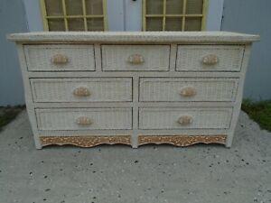 Pier wicker Long Dresser 7 drawers Jamaica Rattan Cottage Tropical Coastal White