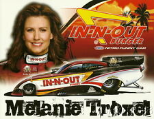 """2010 Melanie Troxel In-N-Out """"1st issued"""" Dodge Charger Funny Car NHRA postcard"""