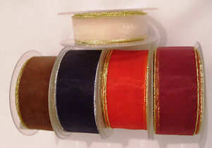 22mm or 38mm Organza Ribbon Gold or Silver Edge various colours 2 metre lengths
