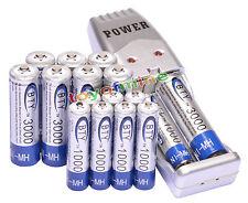 8x AA +8x AAA 1000mAh 3000mAh 1.2V NI-MH BTY batería recargable +USB cargador