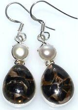 Negro COBRE Turquesa + perla blancaúnico plata de ley 925 Pendientes