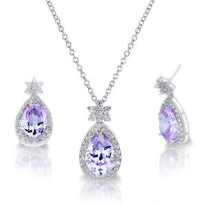 """White Gold Alexandrite Drop Pear Cut Star Silver Necklace Earring Set - 16"""""""