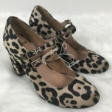 REPORT Lolly Double Strap Velvet Leopard Block Chunky Heels Casual Womens 5.5