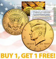 24K GOLD PLATED 2013 JFK Kennedy Half Dollar Coin w/Capsule * BUY 1 GET 1 * BOGO