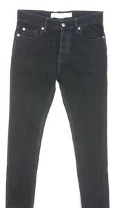 NEW $325 IRO BLACK GRAFFITI SLIM FIT MADE IN ITALY BUTTON FLY JEANS SIZE 30