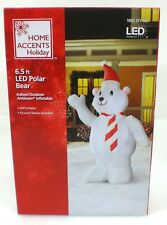 Home Accents LED Polar Bear With Tie  6.5 ft Inflatable Airblown Lights Up