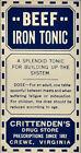 Beef Iron Tonic Label Quack Vintage Pharmacy Crewe VA H