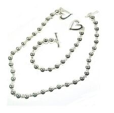 Silver Finish Ball Beads T Bar Heart Love Dress Necklace Bracelet Jewellery Set