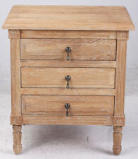 French Provincial Oak  Bedside Table with 3 Drawers