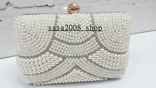 Creamy/Ivory~Handmade~Bridal Evening Pearl Clutch Bag☆Free shipping To UK☆T-125