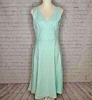 Sandra Darren Womens Light Blue Textured Dress Size 8 Surplice V-Neck Tea Length
