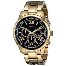 gold plated band men s guess wristwatches new guess watch for men chronograph gold tone w black dial u0379g4