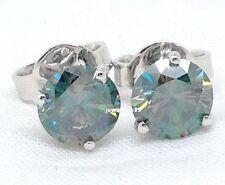 Lovely 2.24 Ct Blueish Green Moissanite VVS1 Stud 925 Sterling Silver Earrings