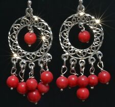 FRIDA KAHLO DESIGN TAXCO MEXICAN SILVER RED CORAL BEAD EARRINGS MEXICO