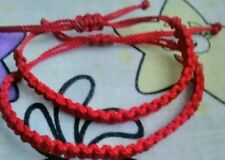 Two red macrame adjustable handmade friendship Erik's bracelets
