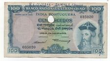 INDIA PORTUGUESE PORTUGAL 100 ESCUDOS 1959 PICK 44 LOOK SCANS