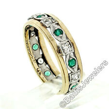 Antico Art Déco 14k Oro E Platino Stile Antico Diamante Smeraldo Eternity Fedina