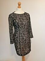 Reiss Short Black Lace Crochet Fitted Evening Dress Size 10 Party Season
