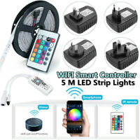 5M RGB LED WIFI Strip Light Control Waterproof Lamp For echo Alexa Google Home