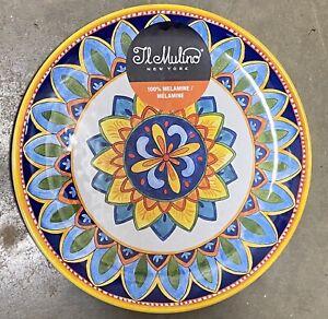 Il Mulino Yellow Blue SPANISH Style Tile Medallion MELAMINE Side Plates Set Of 4