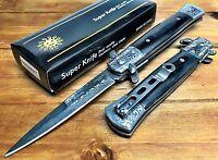 "8.75"" Italian Milano Stiletto Damascus Spring Assisted Open Pocket Knife - LWBK"