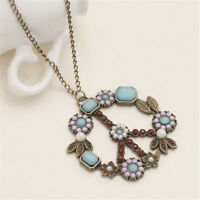 Vintage Flower Coral Turquoise Pearl Peace Sign Pendant Long Necklace Jewelry LD